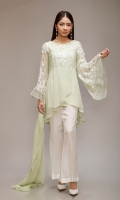 3 piece Shirt, pants and dupatta Chiffon embroidered neckline and sleeves Raw silk pants Chiffon dupatta