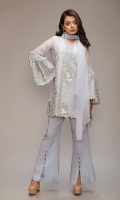 3 Piece Lilac Shirt , Trouser And Dupatta Line Organza Embroidered Shirt Embellished Neckline And Sleeves Shirt Back Jacquard  Raw Silk Boot Cut Pants Finished With Pearls Chiffon Dupatta