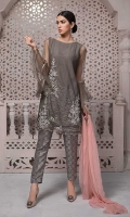 3 Piece Shirt, trouser and dupatta Net embroidered dupatta with flared sleeves Jacquard trouser Chiffon dupatta