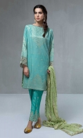 3 Piece Jacquard shirt with embroidered sleeves Embroidered cotton shalwar  Embroidered net dupatta