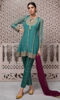 3 Piece Shirt, trouser and Dupatta Net a-line embroidered shirt Jacquard trouser Chiffon dupatta