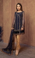 3 piece Shirt, trouser and dupatta Fully embroidered net angrakha with embellished hem Tissue trouser. Net embroidered dupatta