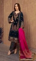 3 pieces Shirt, trouser and dupatta Velvet kashmiri cut fully embroidered shirt Embroidered sleeves Embellished front and hem Jacquard shalwar organza dupatta
