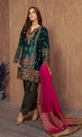 3 pieces Shirt, trouser and dupatta Velvet Kashmiri cut fully embroidered shirt Embroidered sleeves Embellished front and hem Jacquard shalwar Organza dupatta.