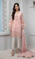 3 pieces Shirt,Trouser and Dupatta Organza jacquard embroidered shirt Embroidered sleeves Embellished neckline Raw silk under shirt Jacquard trouser Chiffon fully embroidered dupatta