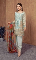 3 piece Aqua zari Jacquard fully embroidered shirt, aqua rawsilk under shirt, aqua rawsilk shalwar Aqua fully embroidered straight shirt Embroidered sleeves Aqua embroidered shalwar Digital print embroidered organza dupatta.