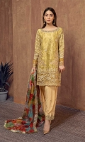 3 piece Yellow zari jacquard fully embroidered shirt, embellished neckline, yellow rawsilk under shirt, yellow rawsilk shalwar Yellow fully embroidered straight shirt Embroidered sleeves Yellow embroidered shalwar Digital print embroidered organza dupatta.