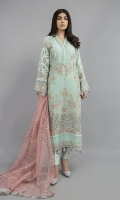 Shirt Fabric: cotton net Trouser fabric: jacquard Dupatta fabric: organza Cotton net all over embroidered front and embellished neck line with self-jacquard embroidered sleeves matching raw silk under shirt and trouser with fully embroidered organza dupatta