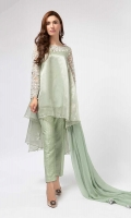 3 Piece Shirt, Trouser And Dupatta  Tissue Aline Front Short Back Long Shirt Embellished And Embroidered Neackline And Sleeves Jacquard Trouser  Chiffon Dupatta