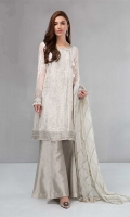 Shirt, trouser and dupatta Chiffon fully embroidered angrakha Tissue sharara Net embroidered dupatta finished with kiran lace