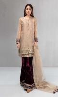 3 piece Shirt, trouser and dupatta Gold embroidered zari net shirt Velvet embroidered pants Zari net dupatta
