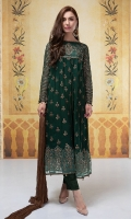 3 piece Shirt, trouser and dupatta Chiffon fully tilla embroidered long frock finished with sequence and tilla balls Raw silk pants  Chiffon dupatta
