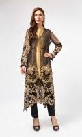 Sf black gown chiffon 2 piece Gown chiffon full embroidered undershirt tissue raw silk  Black raw silk trouser Neckline embellished.