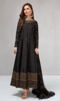 3 piece Frock, trouser and dupatta Fully embroidered Raw silk full length frock Embellished sleeves, neckline and hem Raw silk trouser Net embroidered dupatta