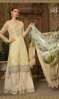 Printed front and back  Embroidered chiffon sleeves Embroidered neckline  Embroidered ghera patti Printed trouser  Digital printed silk dupatta  Swarovski buttons