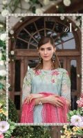 Printed front and back  Printed trouser  Embroidered and embellished neckline with pearls  Embroidered and embellished sleeve patch  Embroidered pearl sleeve patti Embroidered ghera patti Schiffli embroidered chiffon dupatta  Digital printed dupatta pallu