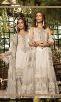 Printed shirt  Embroidered neck patti Embroidered neck patch  Embroidered sleeve patti  Embroidered ghera patti  Embroidered sleeve patch  Embroidered ghera and sleeve schiffli lace  Organza dupatta  Embroidered dupatta patti Dyed trouser  Swarovski buttons