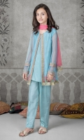 3-piece shirt trouser and dupatta Blue net open shirt with embroidered pati on neck, sleeves and hem Blue grip undershirt and trouser Pink chiffon dupatta Embellished with kiran lace