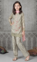 3 piece shirt trouser and dupatta Beige lawn shirt with embroidered patch on hem and sleeves Beige jacquard sleeves Screen printed cambric trouser Pink chiffon dupatta Embellishesed with kiran lace, pearls and buttons