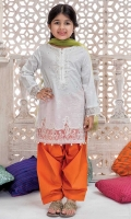 3 piece Shirt, Shalwar and Dupatta White lawn embroidered shirt with orange lawn shalwar Lime green net dupatta Embellished with pearls, buttons and kiran lace