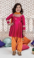3 piece Frock, Shalwar and Dupatta Orange self- printed lawn frock with embroidered neck and sleeves Orange screen printed lawn shalwar Pink net dupatta Embellished with gota.
