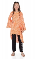 2 Piece Frock And Trouser Orange Screen Printed Lawn Frock Black Lawn Trouser With Embroidered Patch Embellished With Coins