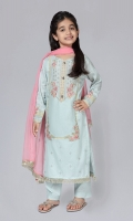 Shirt fabric: Lawn Trouser fabric: Cambric Dupatta fabric: Chiffon Light blue lawn embroidered shirt with embroidered sleeves comes with light blue cambric straight pant and pink chiffon dupatta.
