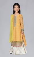 Shirt fabric: Dobby Trouser fabric: Jacquard Dupatta fabric: Chiffon Dobby embroidered shirt and embroidered sleeves comes with white jacquard loose cut trouser and yellow green dupatta.