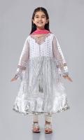 Shirt fabric: Net Trouser fabric: Rawsilk Dupatta fabric: Chiffon White net screen printed long frock embroidered neckline Embroidered sleeves with white Rawsilk chori pajama and pink Chiffon dupatta