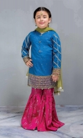 3 Piece Shirt, Trouser, Dupatta Blue self-printed embroidered shirt with pink screen printed cambric shalwar Green net dupatta Embellished with buttons, tilla balls and kiran lace