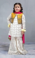3 Piece Shirt, Trouser, Dupatta White cambric screen printed shirt with yellow self-printed embroidered jacket White screen printed cambric gharara Pink chiffon dupatta Embellished with tilla balls and kiran lace