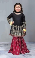 3 Piece Shirt, Trouser, Dupatta Black self-printed embroidered frock with cambric maroon screen printed gharara Black chiffon dupatta Embellished with tilla balls and kiran lace