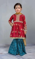 3 Piece Shirt, Trouser, Dupatta Red self-printed embroidered frock with screen printed blue cambric gharara Yellow chiffon dupatta Embellished with kiran lace