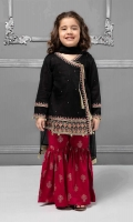 3 piece Angrakha, Gharara and Dupatta Black lawn angrakha frock with embroidered pati on hem, sleeves and neckline Pink lawn screen printed gharara Black chiffon dupatta Embellished with pearls and tassels