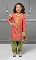 3 piece Shirt, Shalwar and Dupatta Carrot jacquard shirt with embroidered pati on hem and neckline Green jacquard shalwar with mustard chiffon dupatta Embellished with kiran lace and buttons