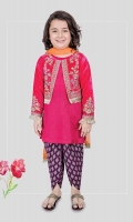 3 pieces Shirt, jacket, shalwar and dupatta Pink silk shirt with velvet embroidered jacket Purple screen printed grip shalwar Orange net dupatta Embellished with kiran lace