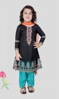 3 piece Frock, shalwar and dupatta Black khadder long frock with embroidered sleeves, neck and hem Blue khadder screen printed shalwar with orange chiffon dupatta Embellished with kiran lace, tilla balls, sequin and buttons