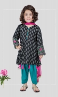 3 piece Frock, shalwar and dupatta Black screen printed khadder frock with embroidered patti on sleeves Ferozi khadder shalwar with pink chiffon dupatta Embellished with kiran lace, tassels and buttons