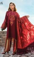 Chashm-e-bulbul embroidered front Chashm-e-bulbul embroidered sleeves Chashm-e-bulbul embroidered shoulder lace Chashm-e-bulbul plain back Printed linen trouser Embroidered sleeve patti Hand woven kashmiri shawl
