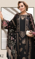 Linen modal jacquard front Printed linen back Embroidered linen sleeves Embroidered laser sleeve patches Embroidered velvet sleeve patches Embroidered velvet neckline Linen trouser Plushy shawl Embroidered shawl patti