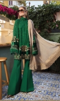 Printed linen front, back and sleeves Plain linen trouser Embroidered velvet ghera patch Embroidered velvet sleeve patches Woven shawl with Four sided jacquard patti