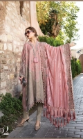 Hand woven front , back and sleeves Plain linen trouser Embroidered velvet neckline patti Embroidered velvet sleeve patti Embroidered velvet ghera patti Embroidered plushy shawl