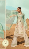 Embroidered lawn front Printed lawn back printed lawn front side panels Printed lawn sleeves Printed cambric trouser Schiffli embroidered ghera lace Embroidered sleeve patti Net embroidered dupatta
