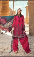 Embroidered printed lawn front Printed lawn back Embroidered chiffon sleeves Printed sleeves and ghera patti Embroidered lawn sleeve patti Dyed cambric trouser Silk printed dupatta Embroidered neck patti