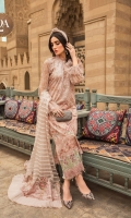 Embroidered printed lawn front Printed lawn back Embroidered printed chiffon sleeves Embroidered ghera lace Schiffli embroidered sleeve lace Schiffli embroidered shoulder lace Printed cambric trouser Woven organza jacquard dupatta Printed cotton satin dupatta pallu Swarovski buttons