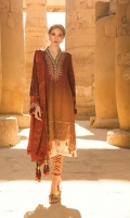 Shaded woven jacquard lawn front and back Embroidered woven jacquard lawn sleeves Jute embroidered neckline Patti with pearls Embroidered neckline Burnout embroidered ghera patch Burnout embroidered sleeve patch Printed lawn sleeve patti Printed cambric trouser Jacquard chiffon dupatta
