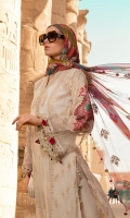 Hand woven jacquard lawn front Hand woven jacquard lawn back Hand woven jacquard lawn sleeves I Embroidered organza sleeves II Embroidered organza sleeve patti Embroidered neck patti with pearls Embroidered organza ghera patti Embroidered organza sleeve patches Schiffli embroidered cambric trouser Embroidered printed chiffon dupatta �
