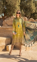 Embroidered woven jacquard lawn front Woven jacquard lawn back Woven jacquard lawn sleeves Dyed cambric trouser Silk printed dupatta Embroidered organza sleeve patti Embroidered organza ghera patti