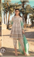 Printed crinkle lawn front and back Embroidered lawn yoke front Embroidered printed lawn sleeves Printed lawn sleeve patti Embroidered organza ghera patti Woven khaddi dupatta Embroidered dupatta schiffli cutwork edge lace Dyed cambric trouser