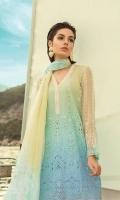 Schiffli embroidered front 1.25m Printed back 1.25m Schiffli embroidered chiffon sleeves 0.67m Embroidered neckline patti with pearls 1m Printed trouser 2m Chiffon printed dupatta 2.5m